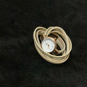 Beige & Gold Watch Bracelet